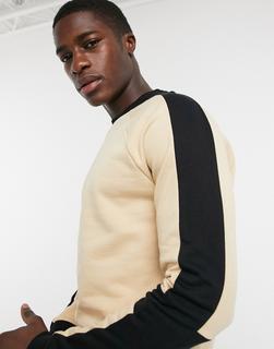 ASOS DESIGN - Sweatshirt mit Raglanärmeln und Kontrastbahnen-Beige