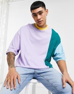 ASOS DESIGN - Oversize-T-Shirt aus Bio-Baumwolle mit halblangen Ärmeln und fliederfabenem Farbblockdesign-Lila