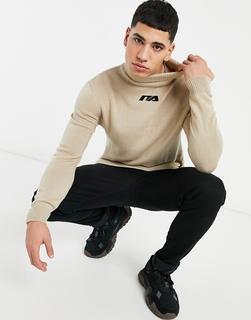 Night Addict - Pullover mit hohem Kragen und aufgesticktem Logo in Beige