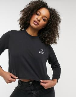 Dickies - Langärmliges Shirt in Schwarz mit kurzem Schnitt und D-Logo