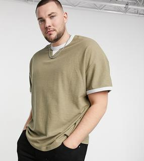 ASOS DESIGN - Plus – Oversize-T-Shirt mit Waffelstruktur und Kontrasteinfassung in verwaschenem Khaki-Mehrfarbig