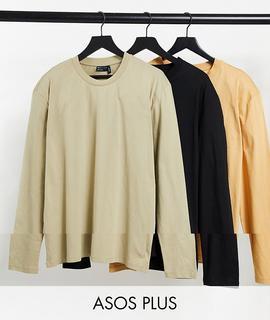 ASOS DESIGN - Plus – Langärmlige Shirts mit Rundhalsausschnitt im 3er-Pack-Mehrfarbig