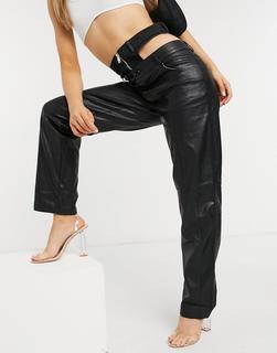 The Kript - Hose aus Kunstleder mit geradem Bein und Detail mit Reißverschluss an der Taille-Schwarz
