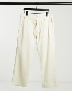 Knowledge Cotton Apparel - Chinohose in Creme aus Bio-Baumwolle