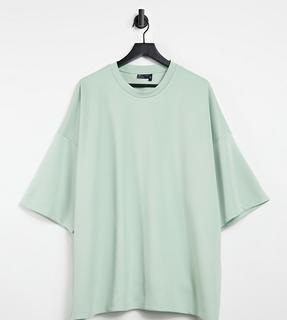 ASOS DESIGN - Plus – Oversize-T-Shirt mit halblangen Ärmeln aus grünem Scuba-Stoff