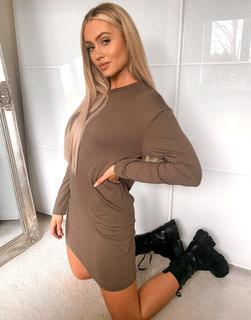 Brave Soul - Lana – Sweatshirt-Kleid in Khaki-Grün
