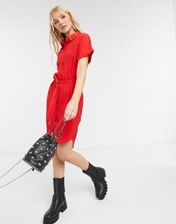 Vero Moda - Mini-Hemdkleid mit Schnürband in Rot
