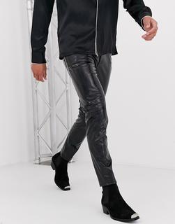ASOS DESIGN - Sinny-Jeans mit irisierendem schwarzen Schlangenmuster