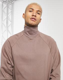 ASOS DESIGN - Braunes Oversize-Sweatshirt mit Trichterkragen