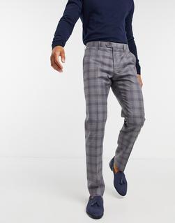 TED BAKER - Dorlnt – Schmal geschnittene, elegante Debonair-Hose mit Karomuster-Grau