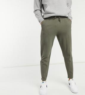 ASOS DESIGN - Tall – Elegante, schmal geschnittene Pikee-Jogginghose mit festem Saum in dunklem Khaki, Kombiteil-Grün