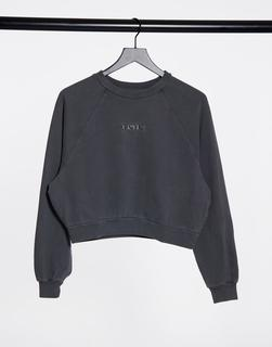 Levis - Levi's – Vintage-Sweatshirt in verwaschenem Schwarz mit Raglanärmeln und Rundhalsausschnitt