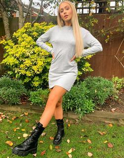 Brave Soul - Lana – Sweatshirt-Kleid in Grau