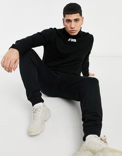 Night Addict - Pullover mit hohem Kragen und aufgesticktem Logo in Schwarz