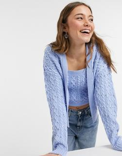 New Look - Perlenbesetzte Twinset-Strickjacke in Hellblau