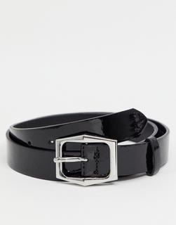 ASOS DESIGN - Party – Schmaler Gürtel aus schwarzem Kunstleder mit sechseckiger Schnalle in Silber-Blau