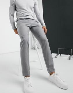 TED BAKER - Kamchat Debonair Fashion – Eng geschnittene Flanellhose-Grau