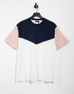 ASOS DESIGN - Lockeres T-Shirt mit Blockfarben und Paspelierung in Marineblau