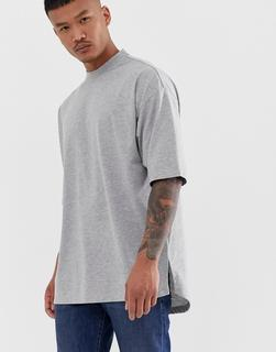 ASOS DESIGN - Kalkgraues Oversize-T-Shirt mit seitlichem Schlitz