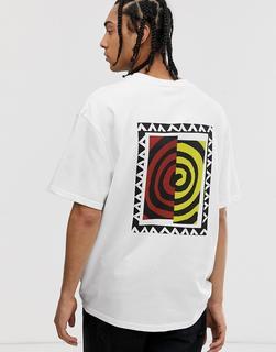 Weekday - Great – T-Shirt mit Wirbel-Print-Weiß