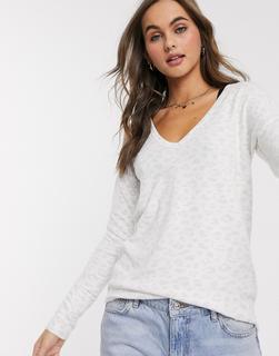 Abercrombie & Fitch - Gemütlicher Pullover mit Animal-Print-Weiß