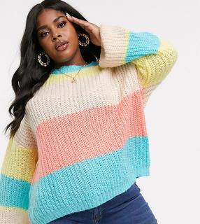 Missguided Plus - Pullover mit pastellfarbigen Streifen-Mehrfarbig