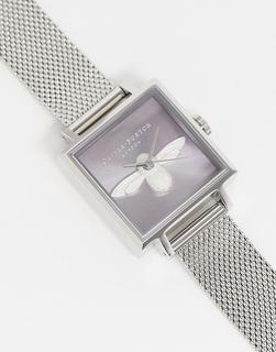 Olivia Burton - Bee Sunray – Silberfarbene Armbanduhr mit fliederfarbenem Zifferblatt