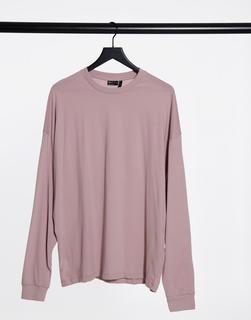 ASOS DESIGN - Langärmliges Oversize-T-Shirt in verwaschenem Lila-Rosa