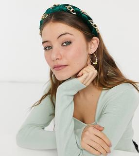 My Accessories - Exklusives Haarband mit geflochtenem Ketten-Mix aus grünem Samt