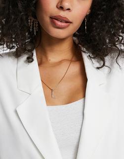 Krystal London - Halskette mit Buchstabenanhänger (L) mit Swarovski-Kristallen-Transparent