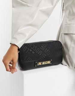 Love Moschino - Jacquard-Kameratasche mit Logo in Schwarz