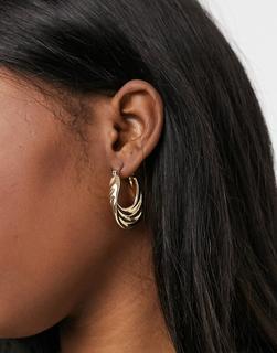 Monki - Debra – Goldfarbene, gestufte Creolen