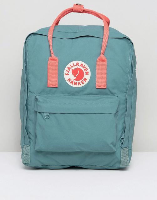 Fjallraven - Classic Kanken Backpack in Green with Contrast Pink