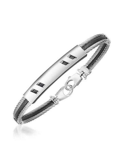 Forzieri - DiFulco Linie Armband aus Edelstahl mit rechteckiger Plakette