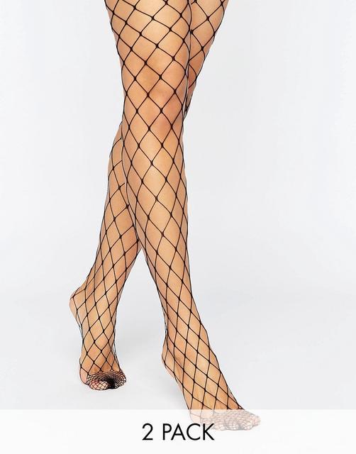 ASOS DESIGN - 2 pack oversized fishnet tights