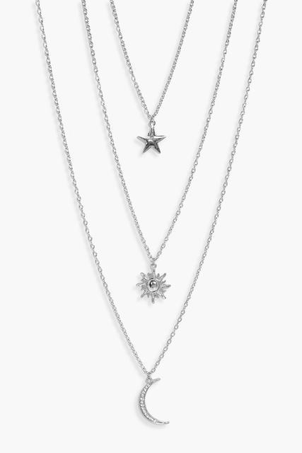 boohoo - Womens Star Sun Moon Layered Necklace - grey - One Size, Grey