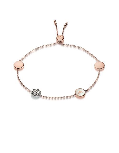 Emporio Armani - Armband aus Edelstahl in rosegold mit Perlmutt und Kristallen mit Anhängern