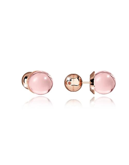Rebecca - Boulevard Stone Rose Gold Over Bronze Stud Earrings w/Pink Hydrothermal Stone