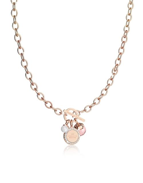 Rebecca - Hollywood Stone Rose Gold Over Bronze Chain Necklace w/Hydrothermal Pink Stone and Glass Pearl