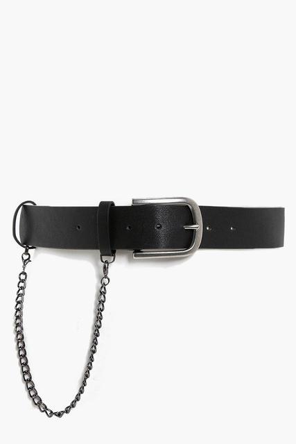 boohoo - Womens Chain Detail Boyfriend Belt - Black - One Size, Black