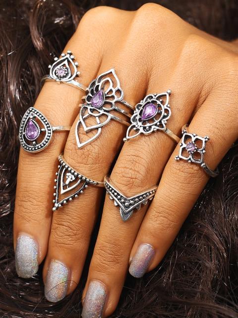 SheIn - Flower Shaped Ring Set With Gemstone