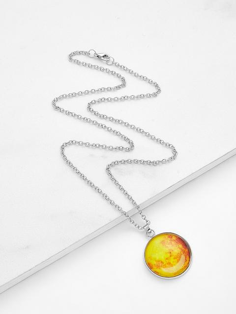 SheIn - Luminous Round Pendant Link Necklace