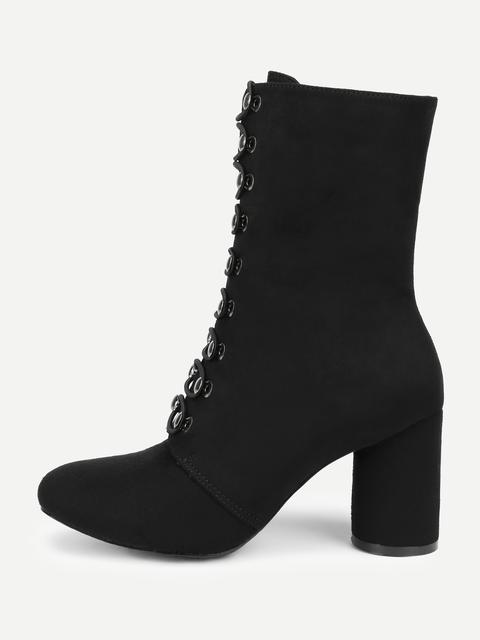 SheIn - Pointed Toe Block Heeled Suede Boots