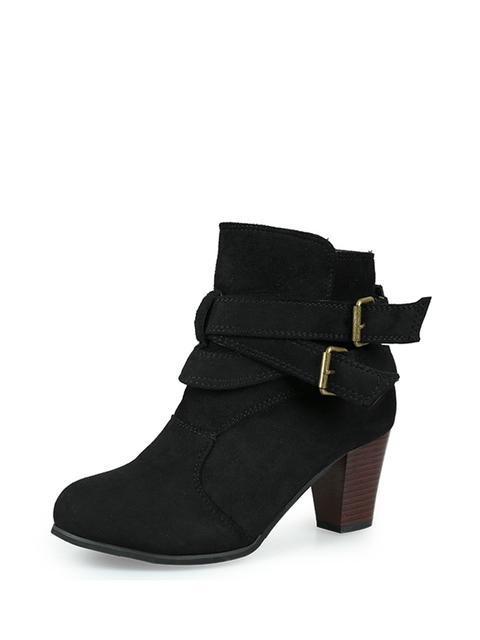 SheIn - Double Buckle Block Heeled Ankle Boots