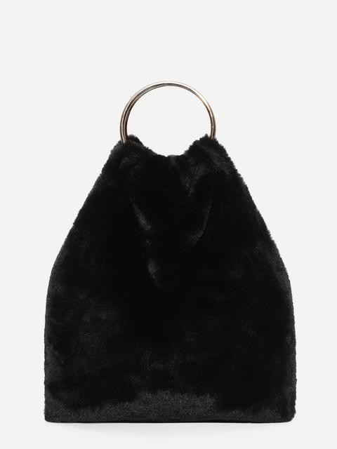 SheIn - Faux Fur Tote Bag With Ring Handle