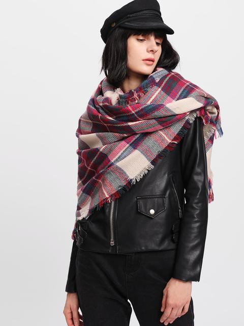 SheIn - Frayed Trim Plaid Scarf