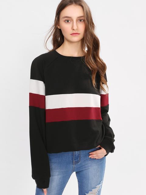 SheIn - Raglan Sleeve Wide Stripe Pullover
