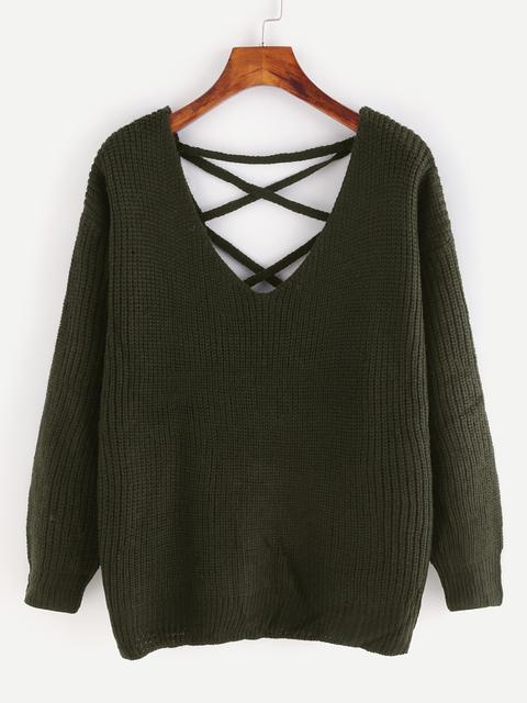 SheIn - Eyelet Lace Up Open Back Sweater