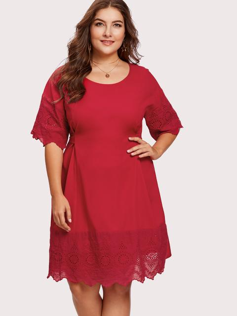 SheIn - Eyelet Embroidered Self Belted Dress