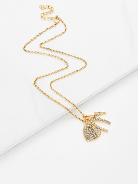 SheIn - Rhinestone Heart & Flash Pendant Chain Necklace